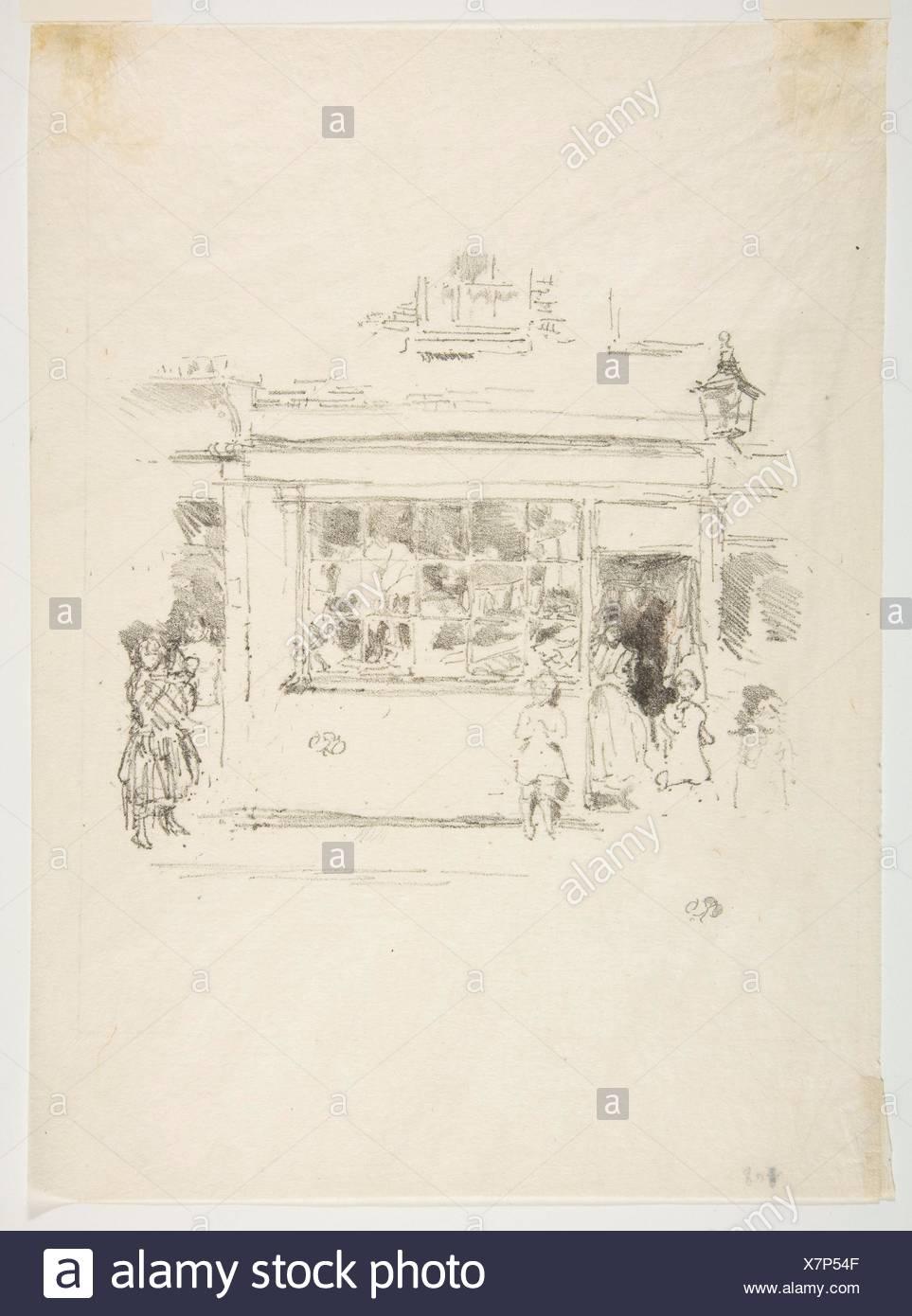 Drury Lane Rags. Artist: James McNeill Whistler (American, Lowell, Massachusetts 1834-1903 London); Date: 1888; Medium: Transfer lithograph, drawn on - Stock Image