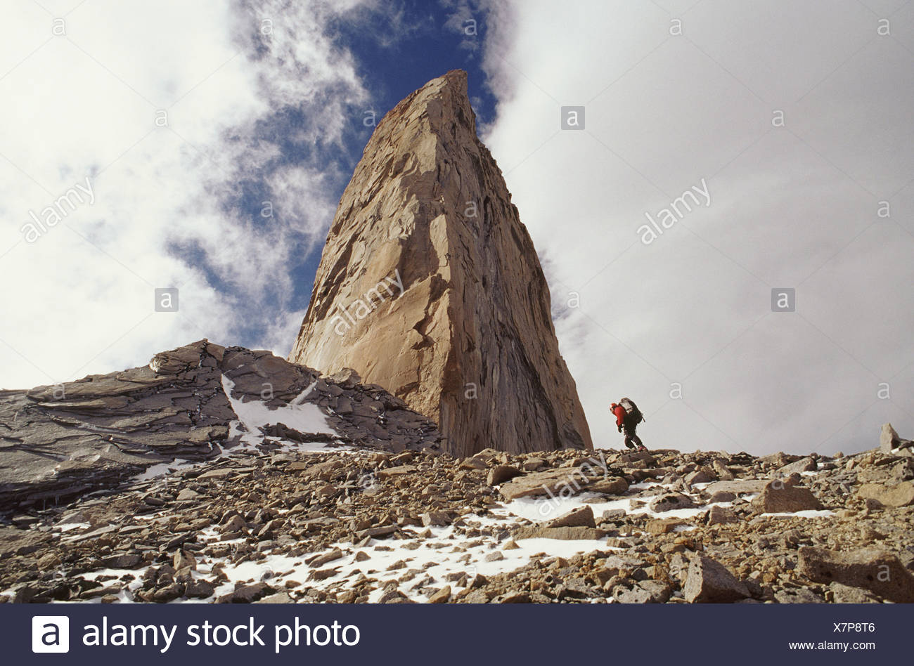 Climber approaching the sword torres del paine national park - Stock Image
