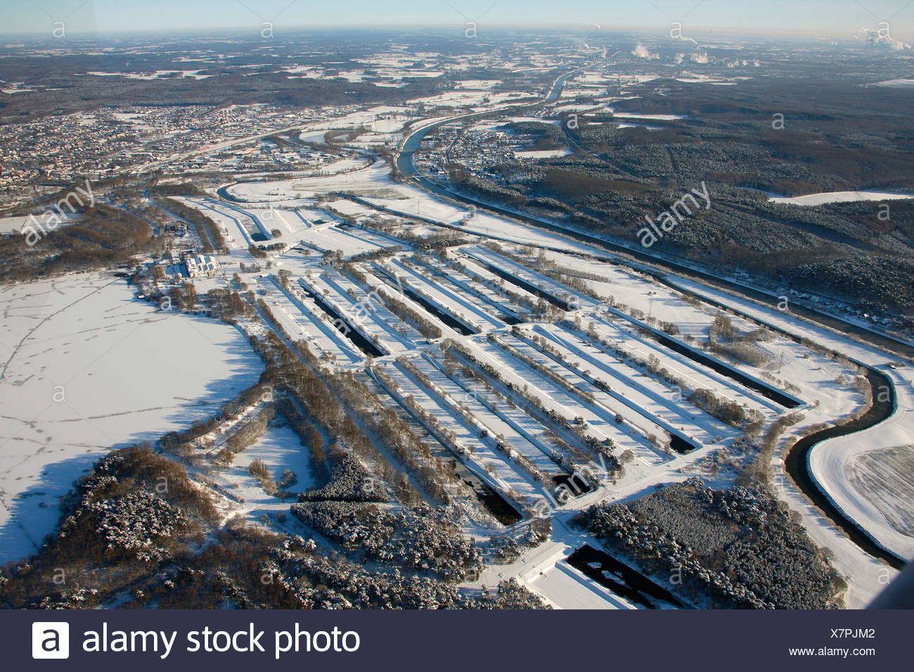Aerial photo, Gelsenwerk sewage treatment plant, Haltern storage lake, snow, Haltern, Ruhr Area, North Rhine-Westphalia, German - Stock Image