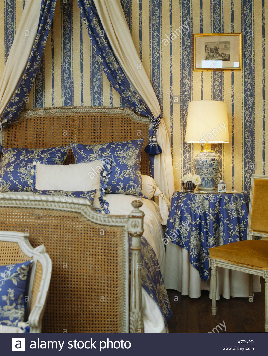 Blue+cream striped wallpaper and lighted lamp in bedroom ...