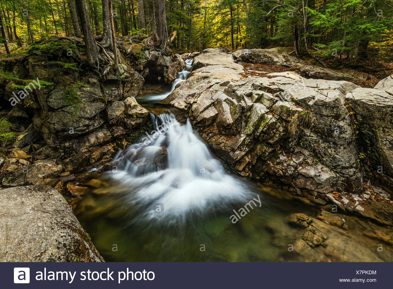 Waterfall at the Basin in Franconia State Park, New Hampshire, USA. - Stock Image
