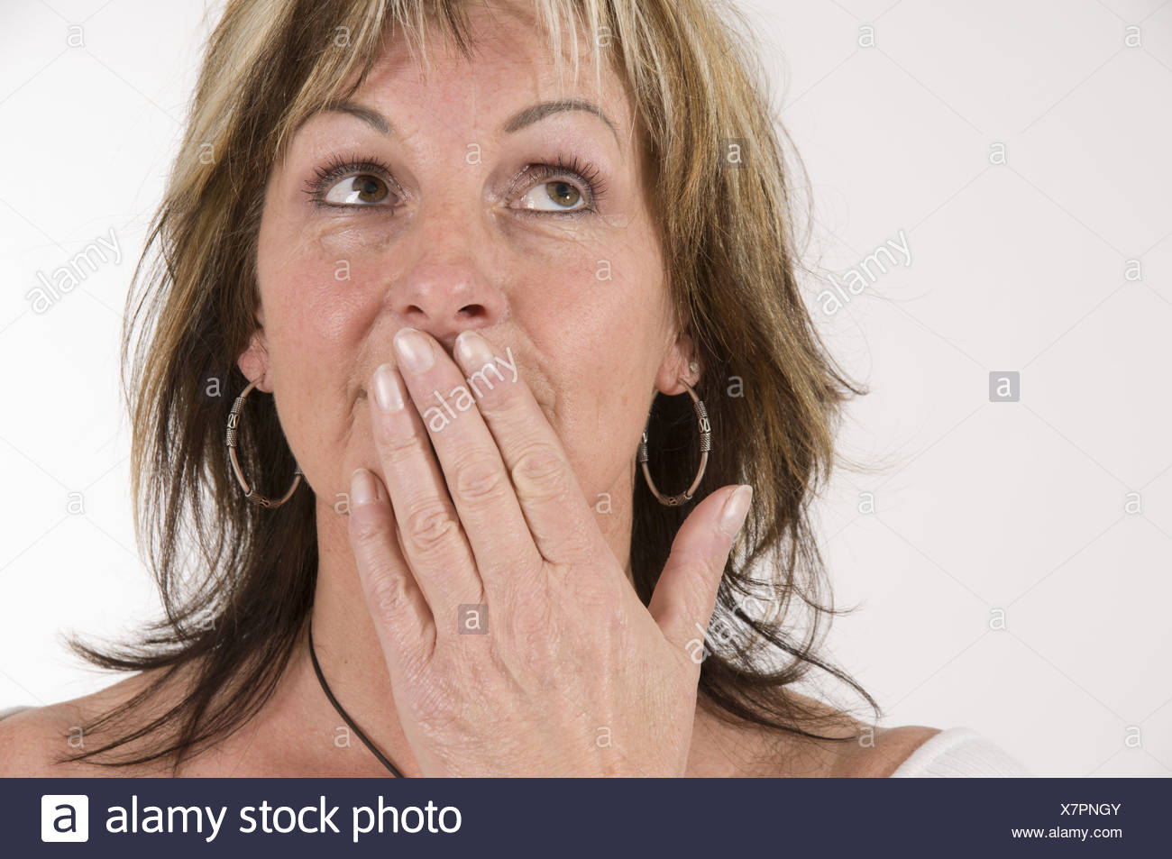 mature woman say nothing Stock Photo