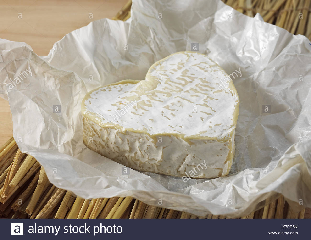 Neufchatel, French Cheese made in Normandy from Cow's Milk - Stock Image