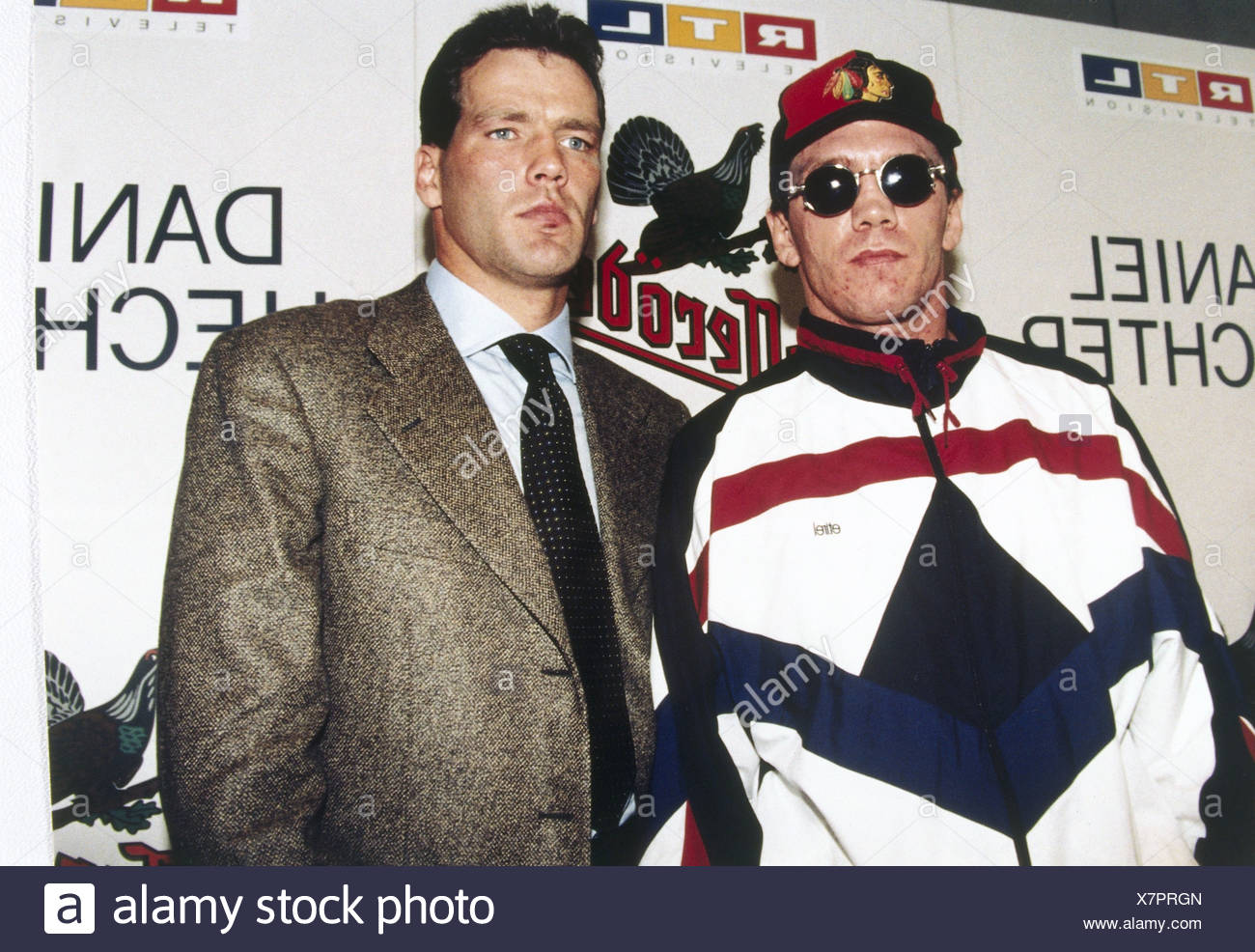 Maske, Henry, * 6.1.1964, German boxer, light heavyweight, with rival Graciano Rocchigiani, half length, 11.10.1995, , Additional-Rights-Clearances-NA - Stock Image