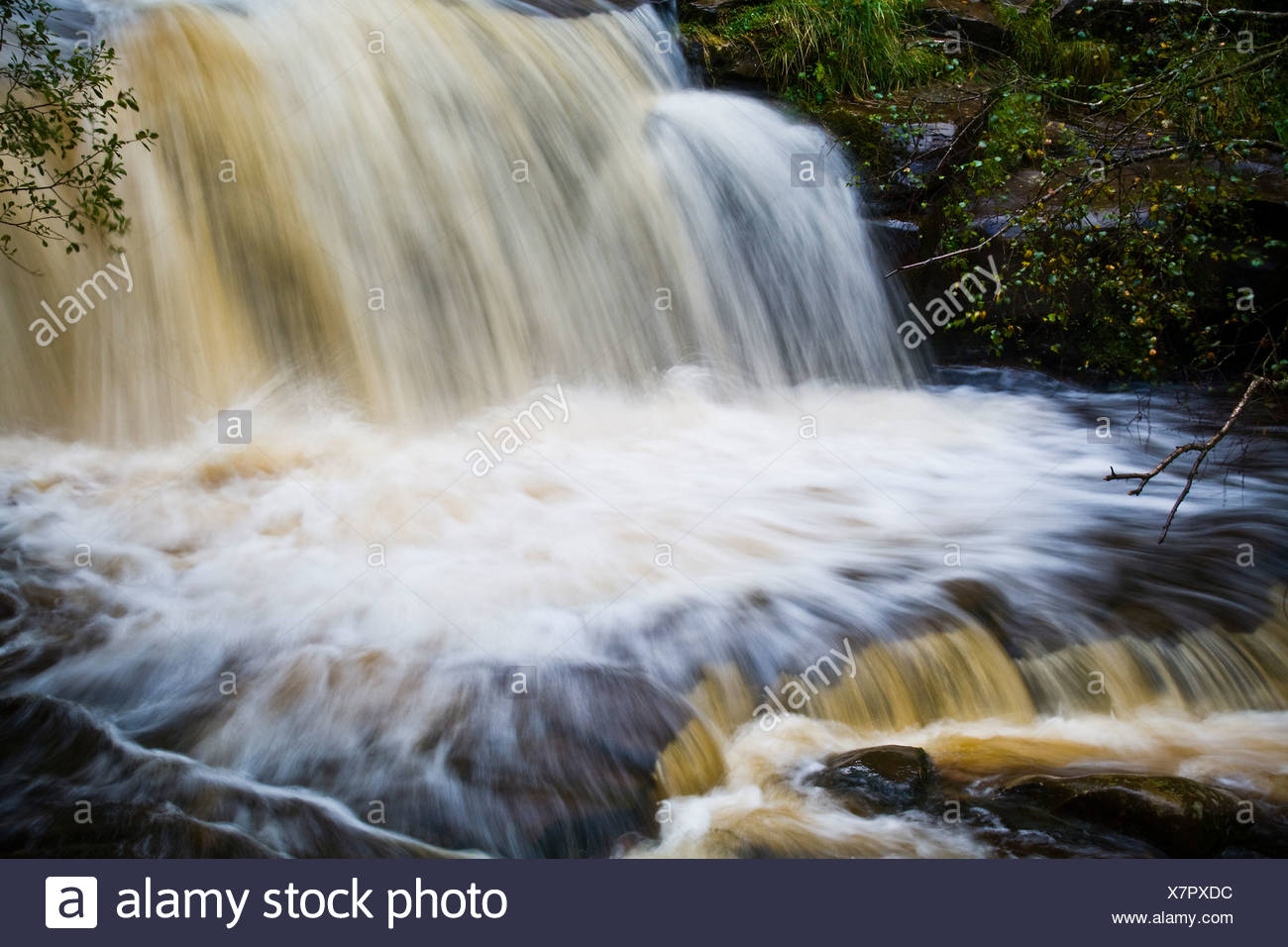 Waterfall heading towards Talybont Reservoir near Talybont-on-Usk in the Brecon Beacons. - Stock Image