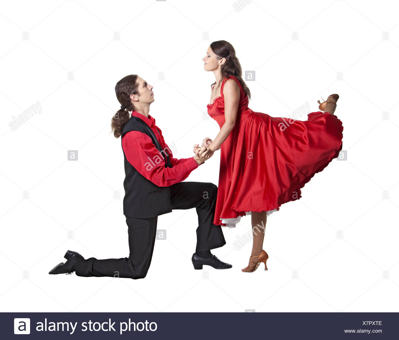 Couple in retro swing clothes isolated over white - Stock Image