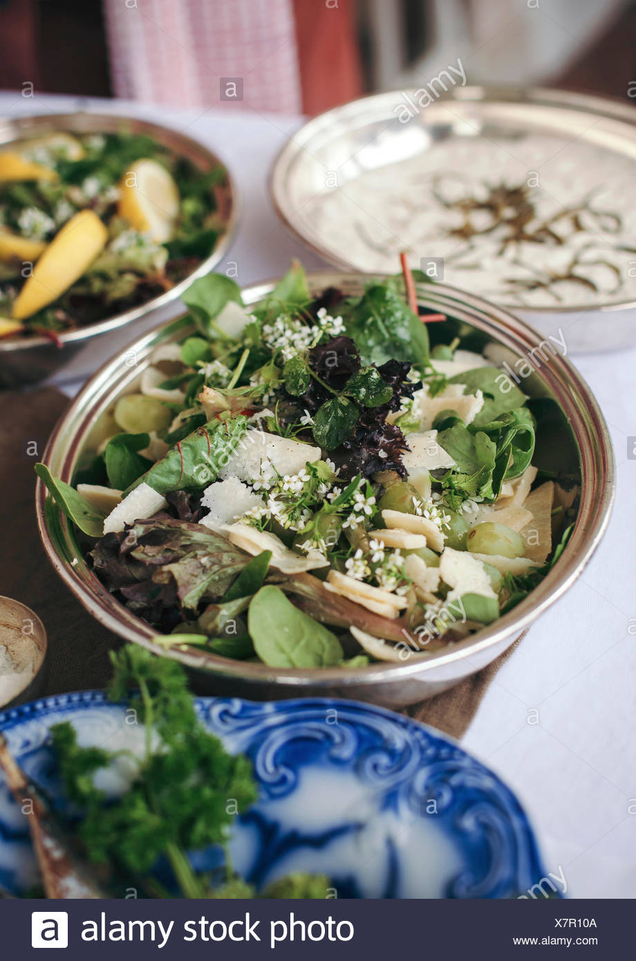 Mixed greens, grapes and Parmesan cheese salad for summer lunch - Stock Image