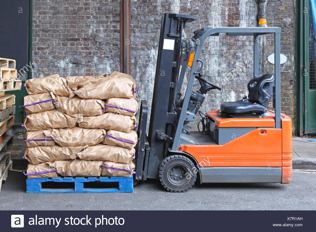 Forklift Sacks Stock Photo