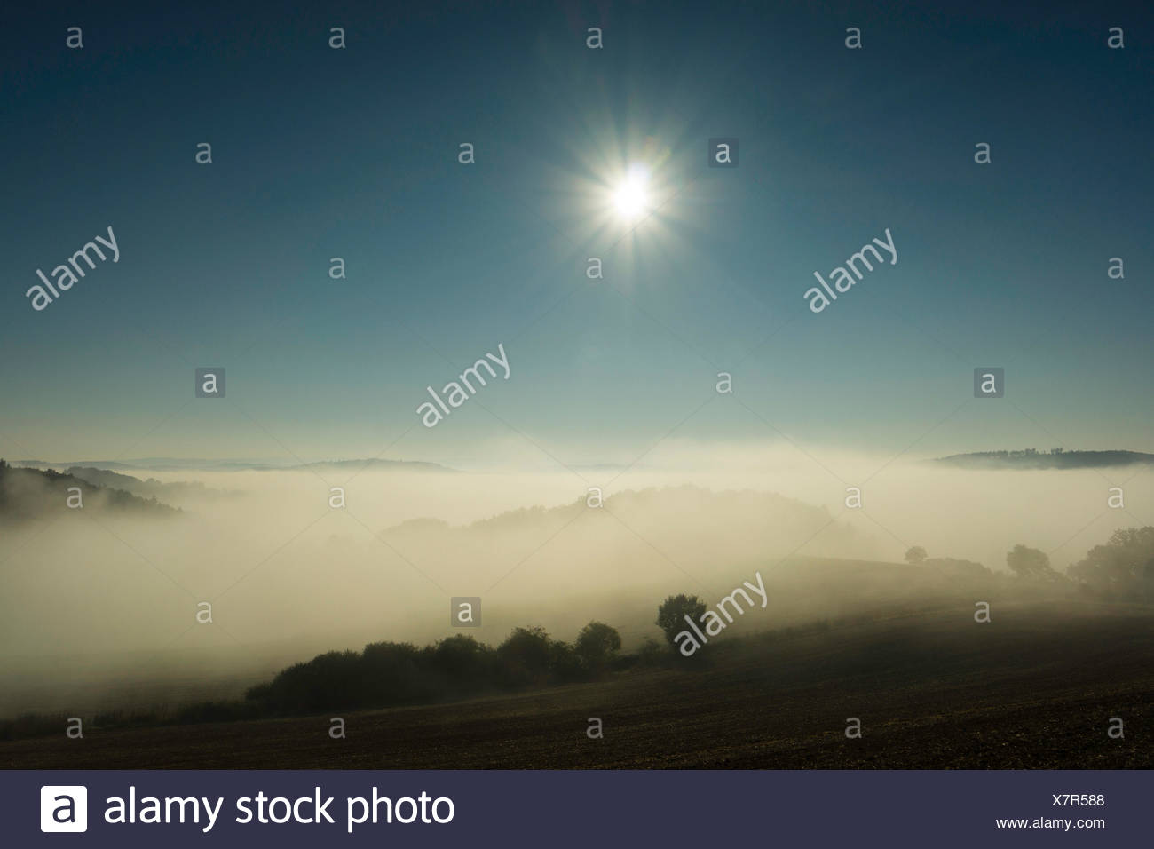 morning sun over a misty vally in autumn, Germany, Saxony, Vogtland - Stock Image