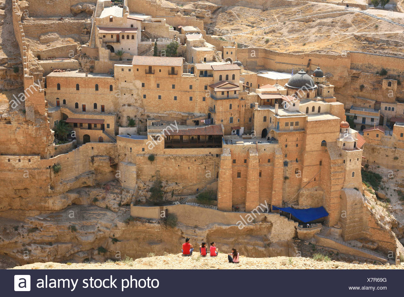 Israel, Judaea Desert, Wadi Kidron, The Great Lavra of St. Sabas (also Mar Saba) Stock Photo
