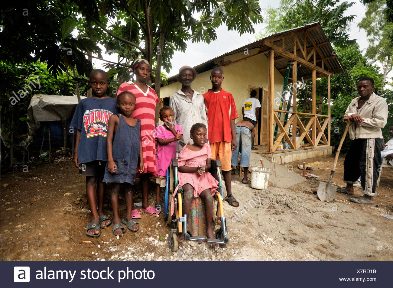 Construction of an earthquake-proof house with disabled ramp suitable for wheelchair use, prefabricated house built by a charity - Stock Image