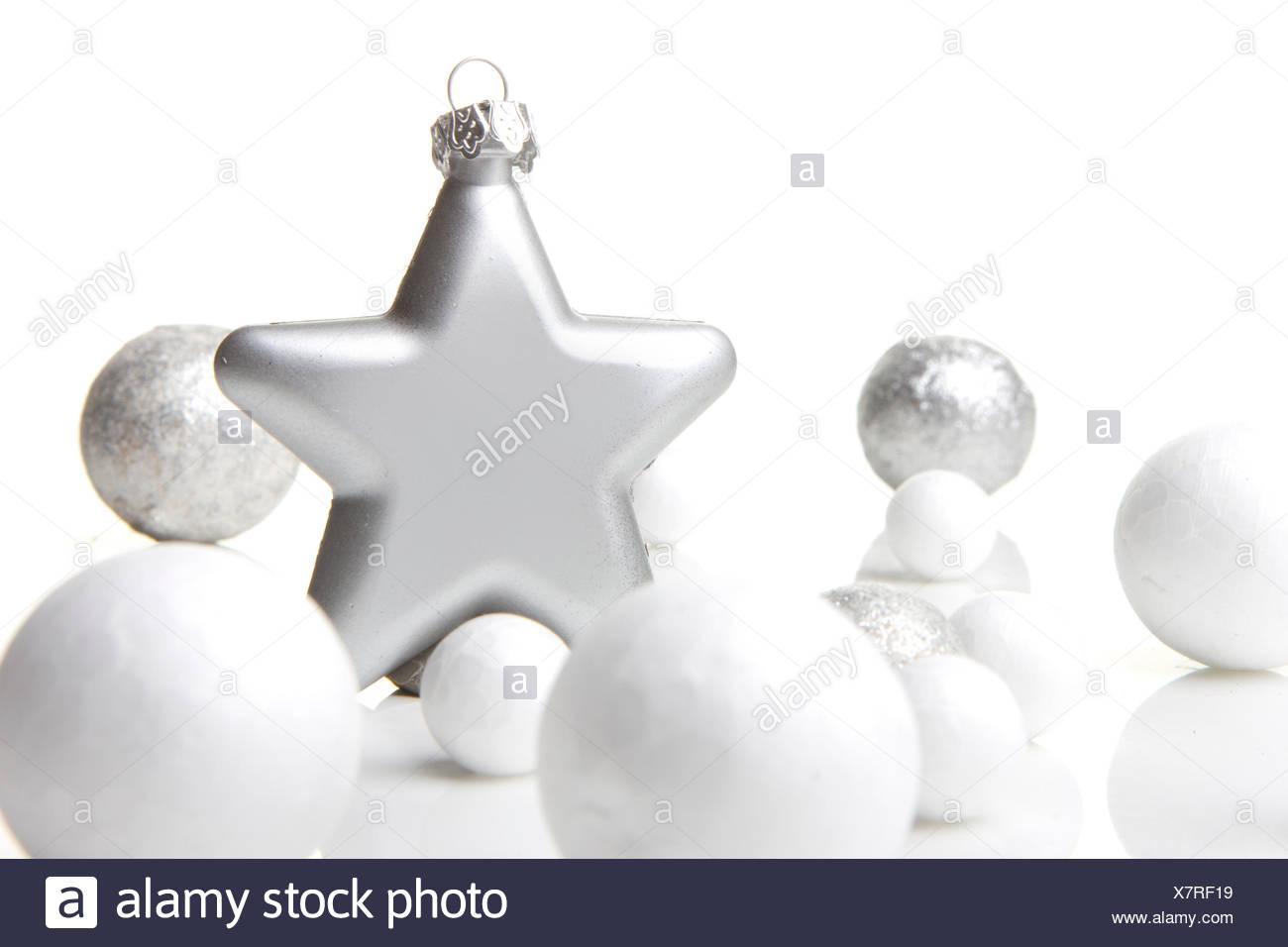 Weihnachtskugeln Weiß Silber.Weihnachten Dekoration Weihnachtskugel Silber Und Weiß Mit Stern