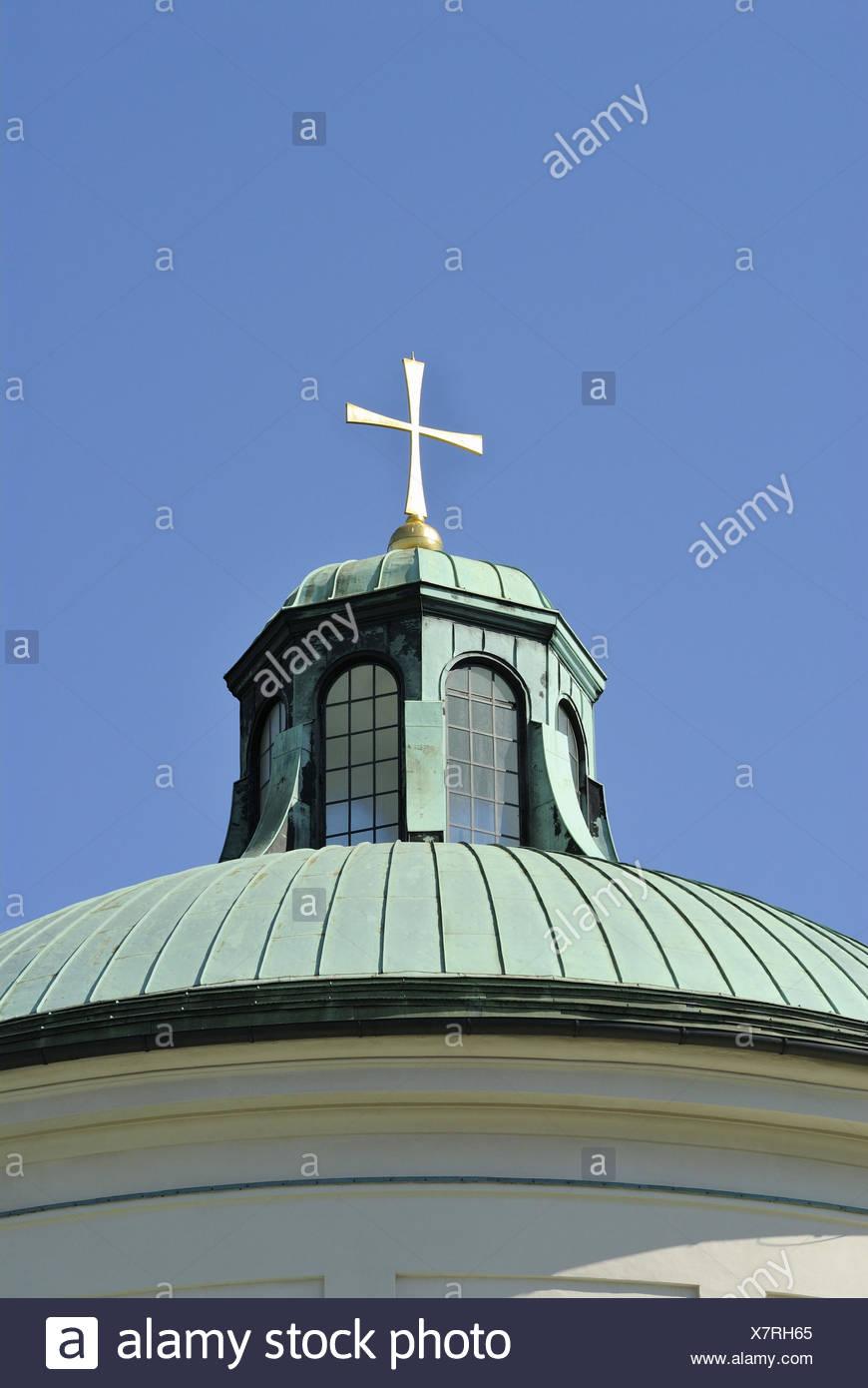 East cemetery, Aussegnungshalle, dome, cross, heaven, Germany, Bavaria, Upper Bavaria, Munich, Stock Photo