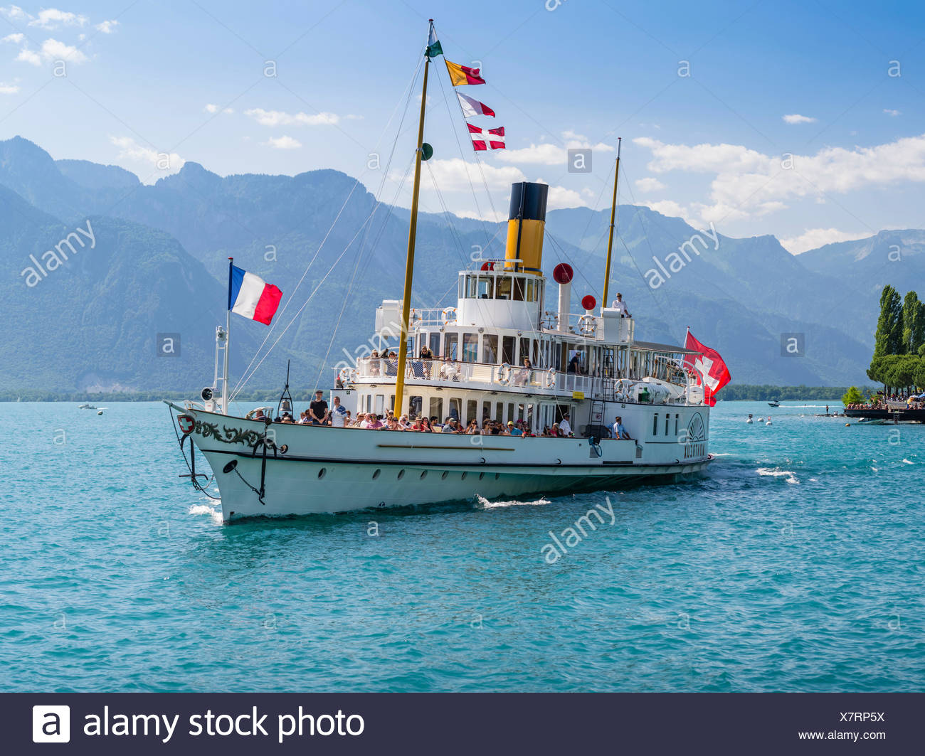 Steamboat on the Lake Geneva near Montreux Stock Photo