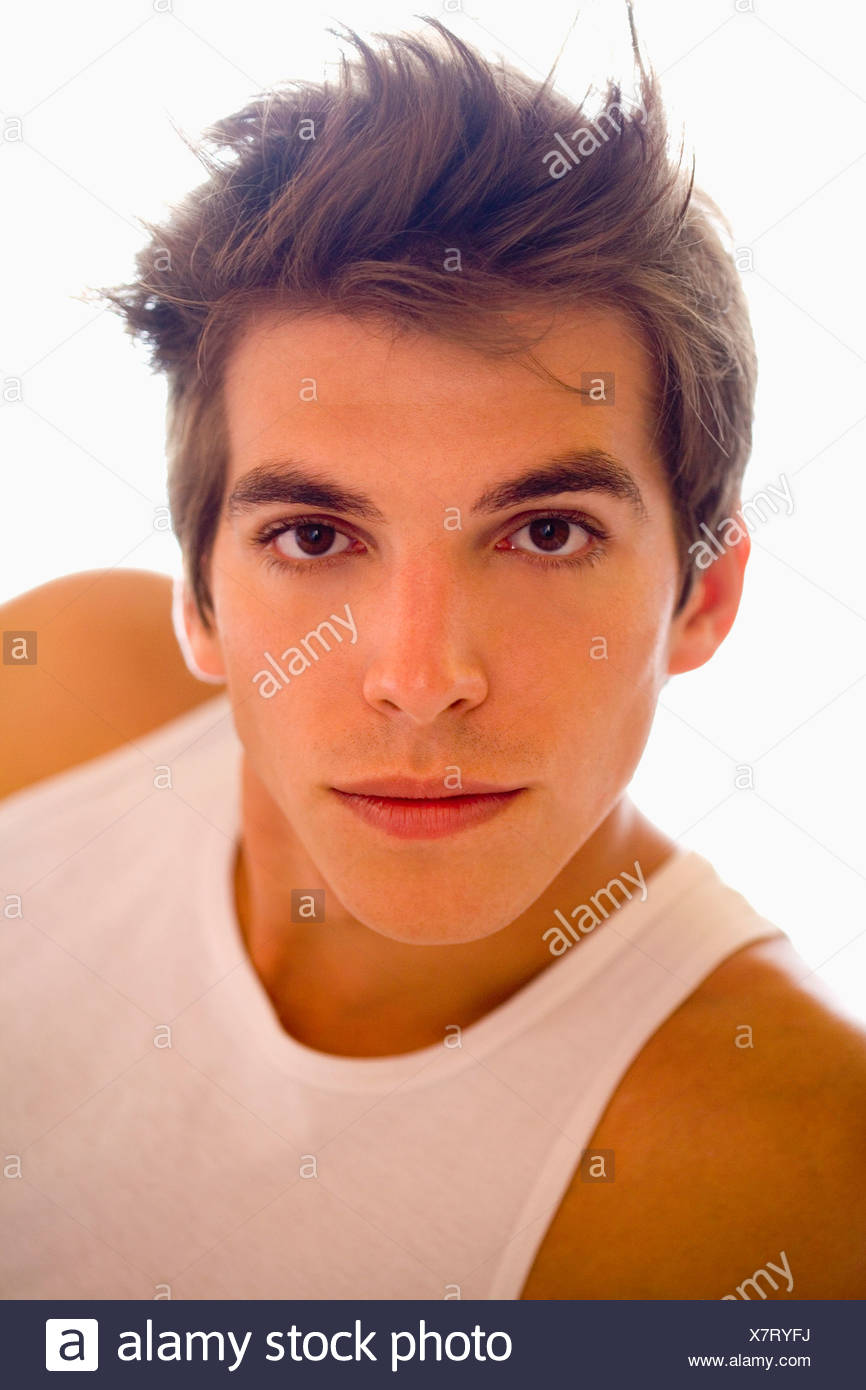 Portrait young man wears t- shirt. - Stock Image