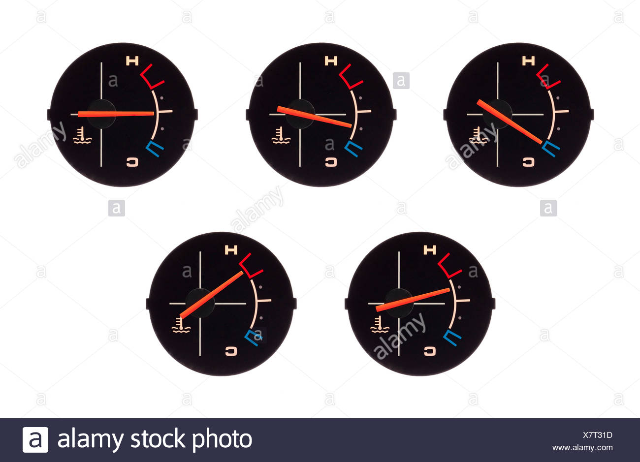 Temperature guage of a motorbike - Stock Image