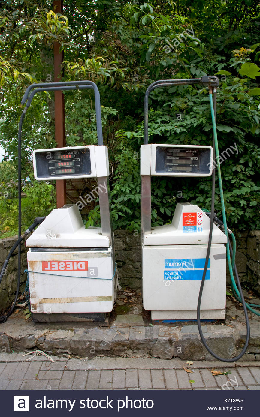 Republic of Ireland, County Tipperary, Terryglass, petrol and diesel fuel pumps - Stock Image