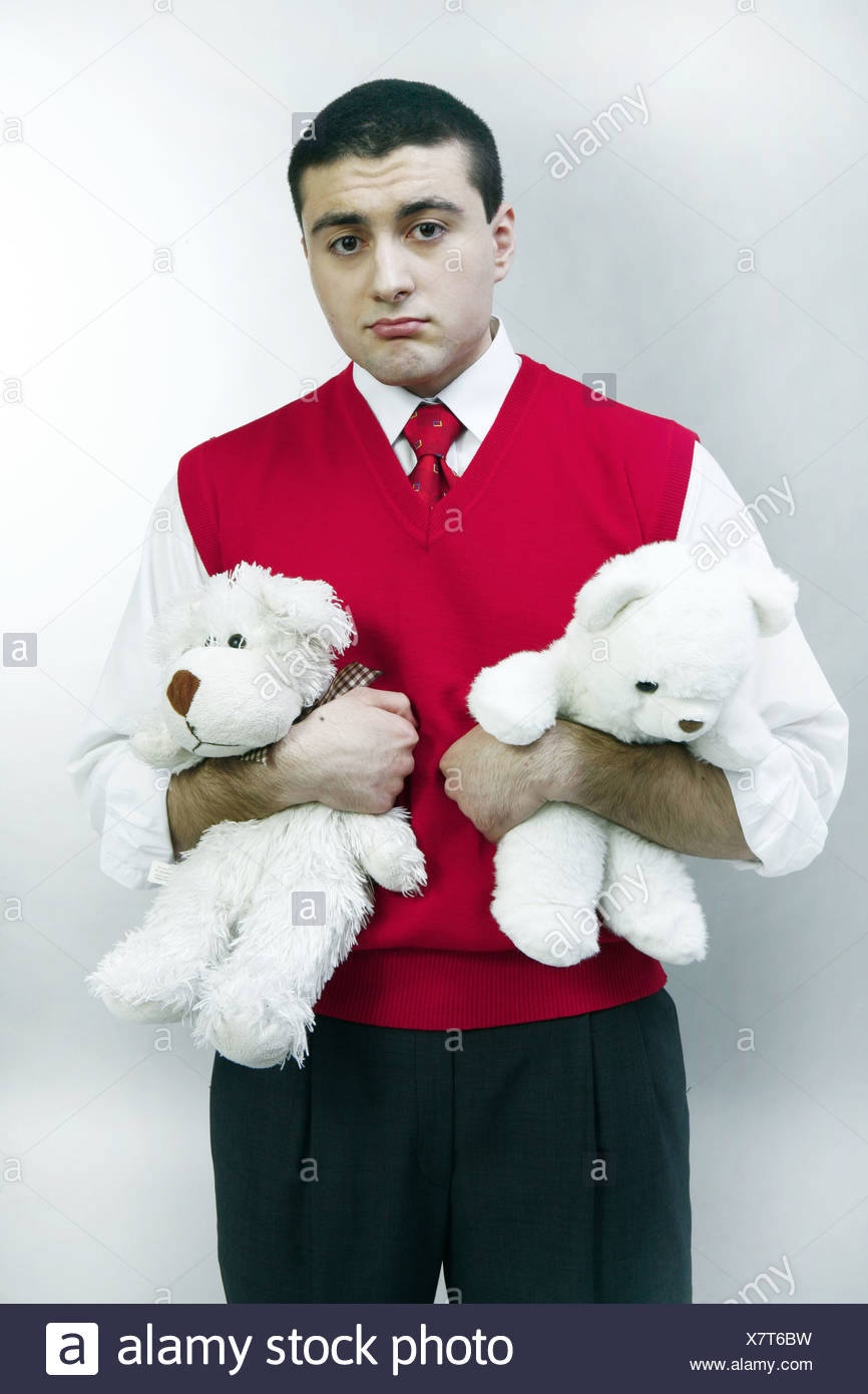 A Man with Teddy Bears - Stock Image