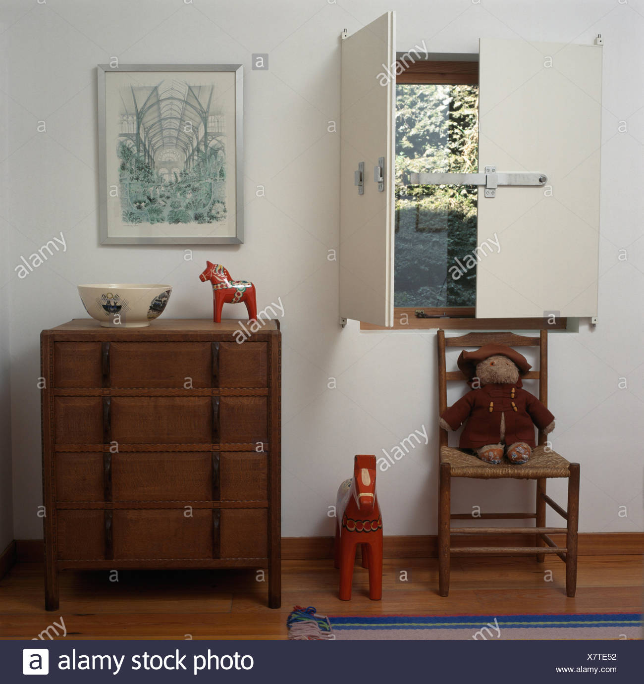Arts+Crafts chest-of drawers in bedroom with ladder-back ...