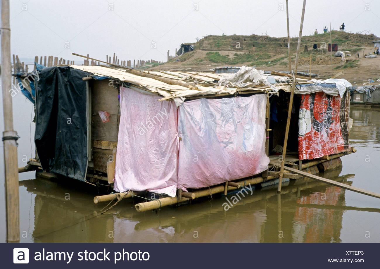 Slums, boat people, Hanoi, Vietnam, Asia Stock Photo