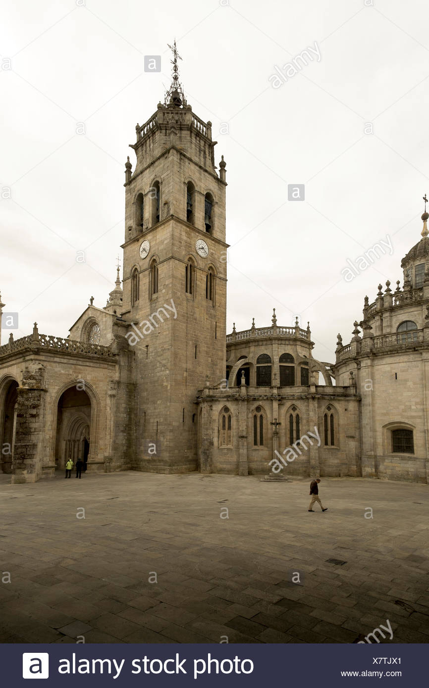 The cathedral in Lugo is a classic structure along the Camino Primitivo, one route of the Camino de Santiago. - Stock Image
