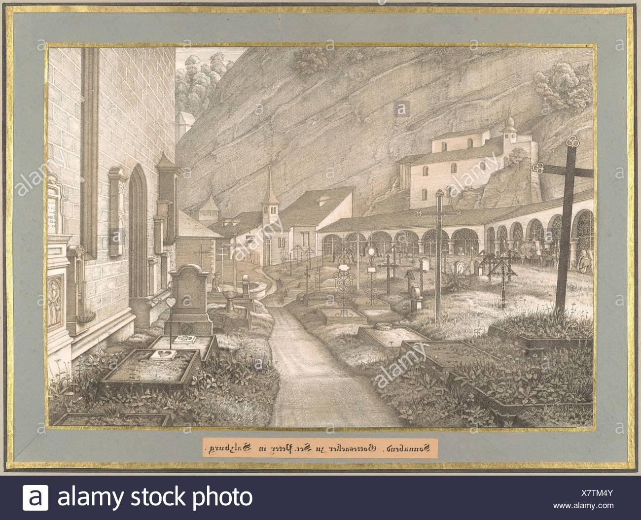 Sonnabend from Sieben Gegenden aus Salzburg und Berchtesgaden Geordnet nach den sieben Tagen der Woche, verbunden durch zwey allegorische Blätter - Stock Image