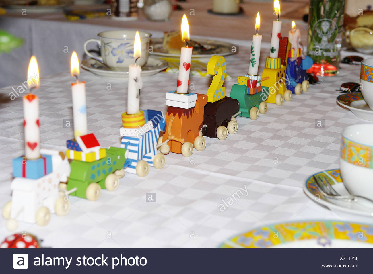 Children S Birthday Party Table Train Decorates Candles