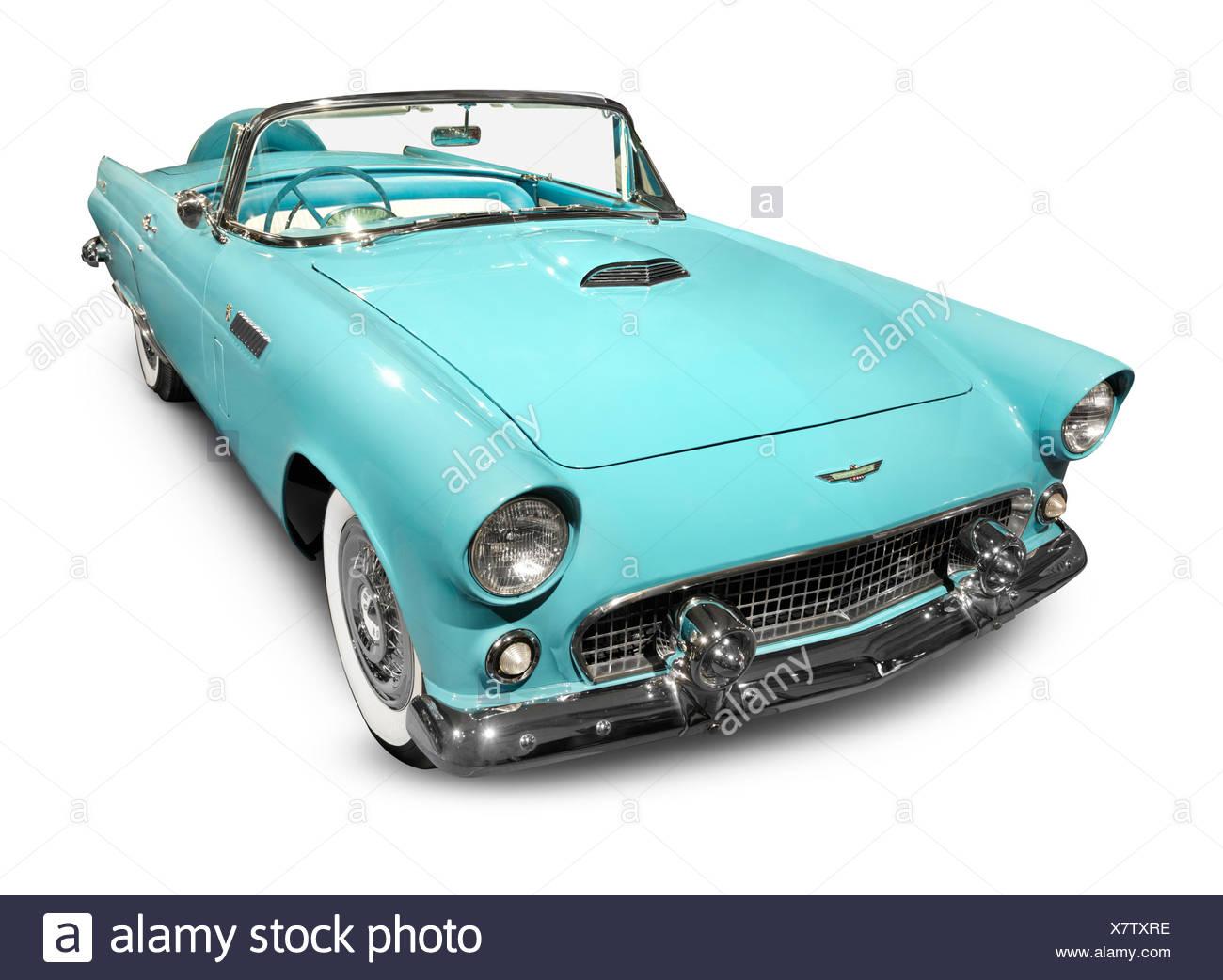 Sky-blue 1956 Ford Thunderbird classic retro car isolated on white background - Stock Image