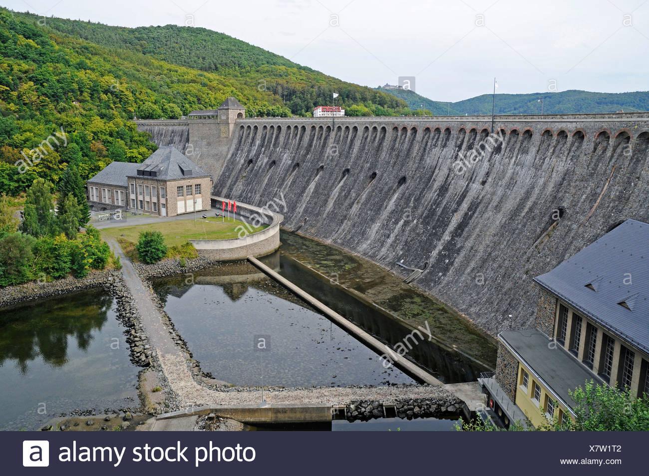 Dam, Edersee lake, Eder reservoir, power plant Hemfurth, Waldeck, Hesse, Germany, Europe Stock Photo