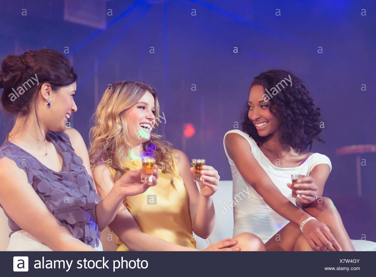 Pretty girls celebrating - Stock Image