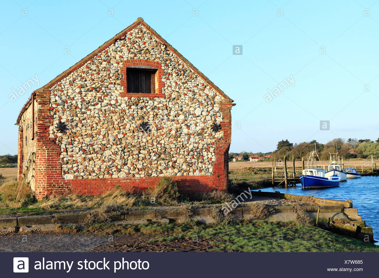 Thornham Creek, Coal Barn and Harbour, Norfolk England UK English coast coastal scenery - Stock Image