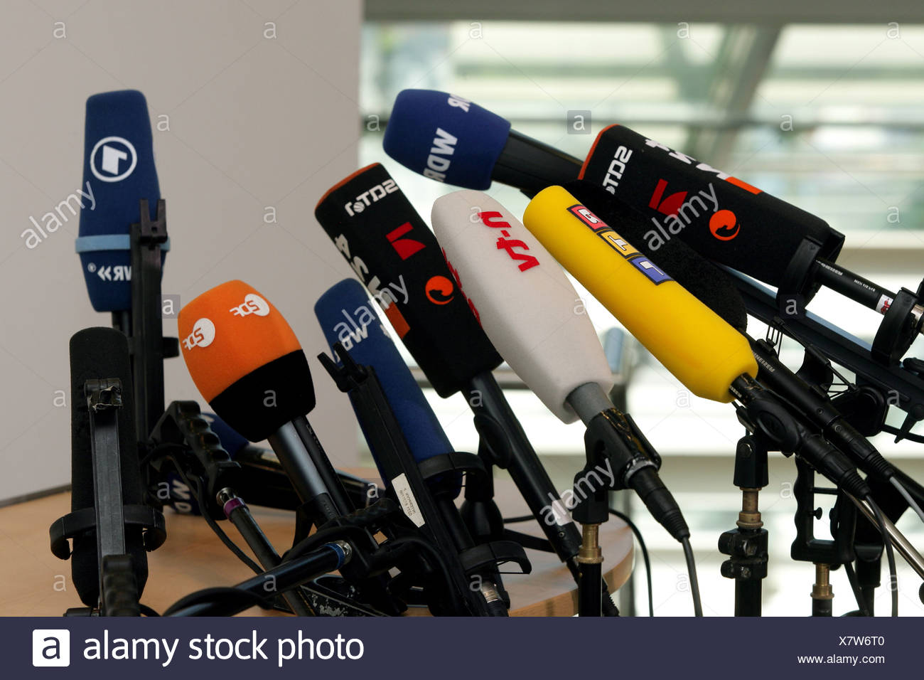 Microphones from german tv channels - Stock Image
