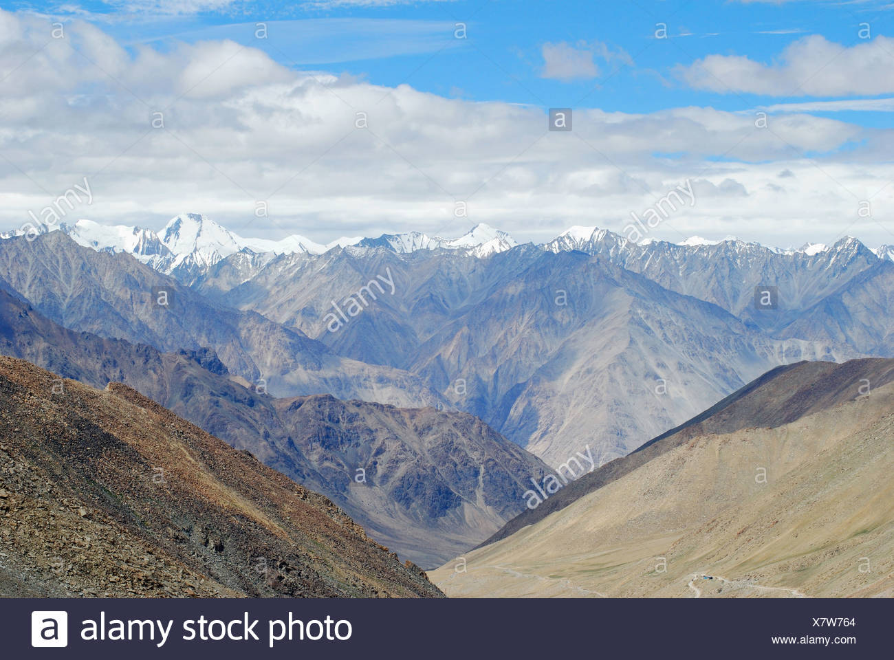 A view of snow clad Himalayan Mountain Ranges from the Changla Pass or Chang La Pass (el. 5,360 m (17,590 ft)) is a high mountai - Stock Image