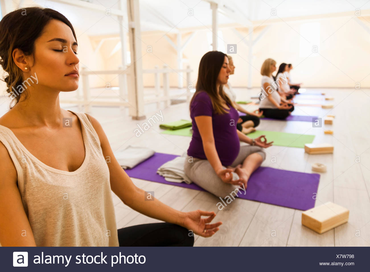 Prenatal Yoga Class Stock Photo 280223028