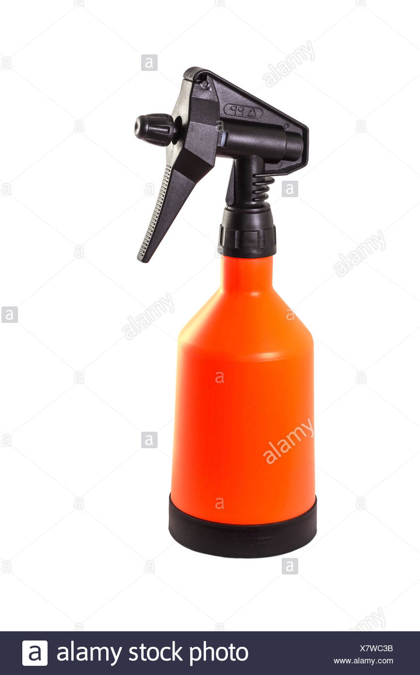 Big orange pulverizer filled with water - Stock Image