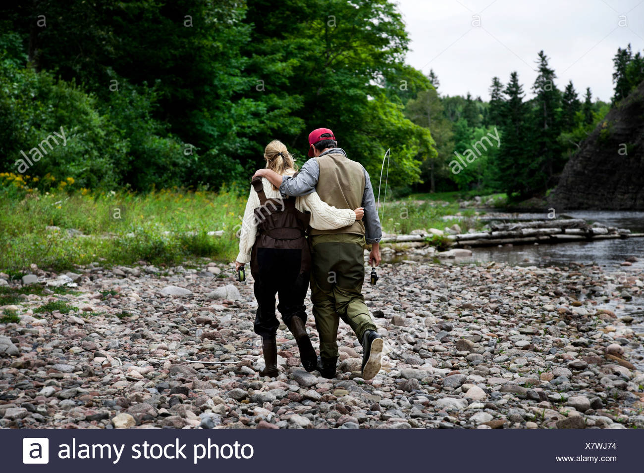 Fisher couple at  Margaree River, Cape Breton Island, Nova Scotia Stock Photo