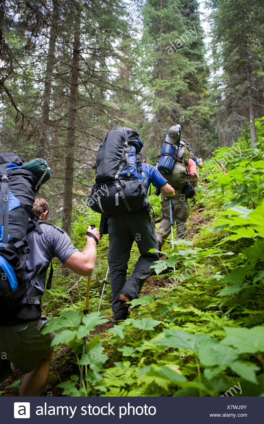 Four men hike up a steep trail during an expedition. - Stock Image