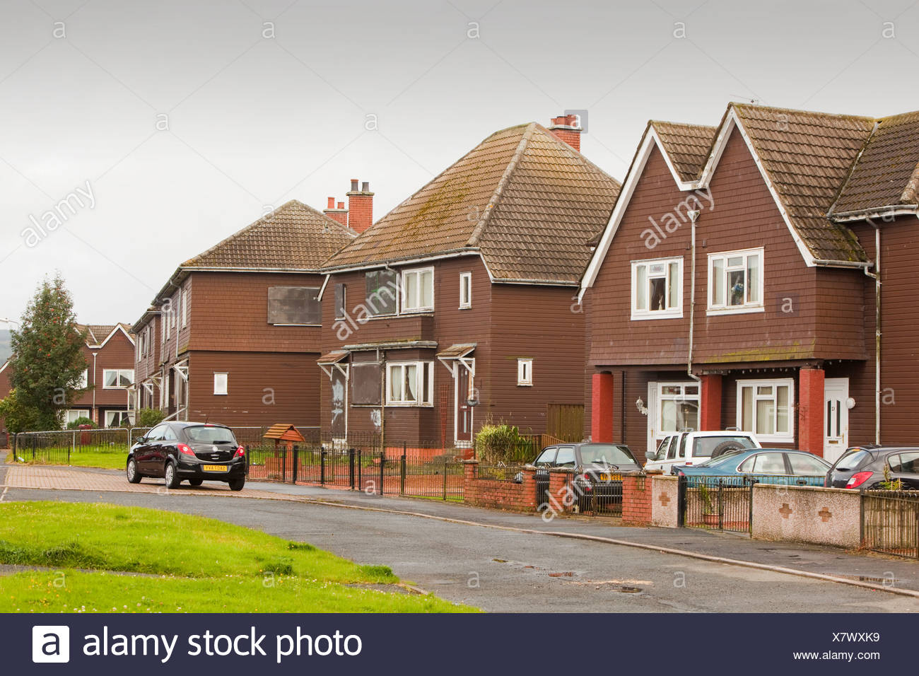 houses in Coalburn, Lanarkshire, UK being compulsory purchased to demolished to make way for another open cast coal mine - Stock Image