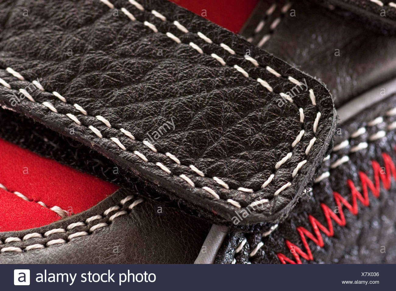 Macro view of velcro on a child shoe - Stock Image