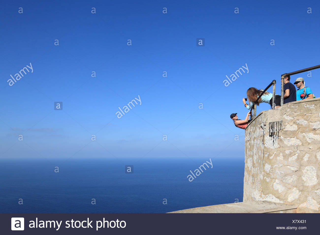 Cap de Formentor, Spain, tourists take pictures in Mallorca - Stock Image
