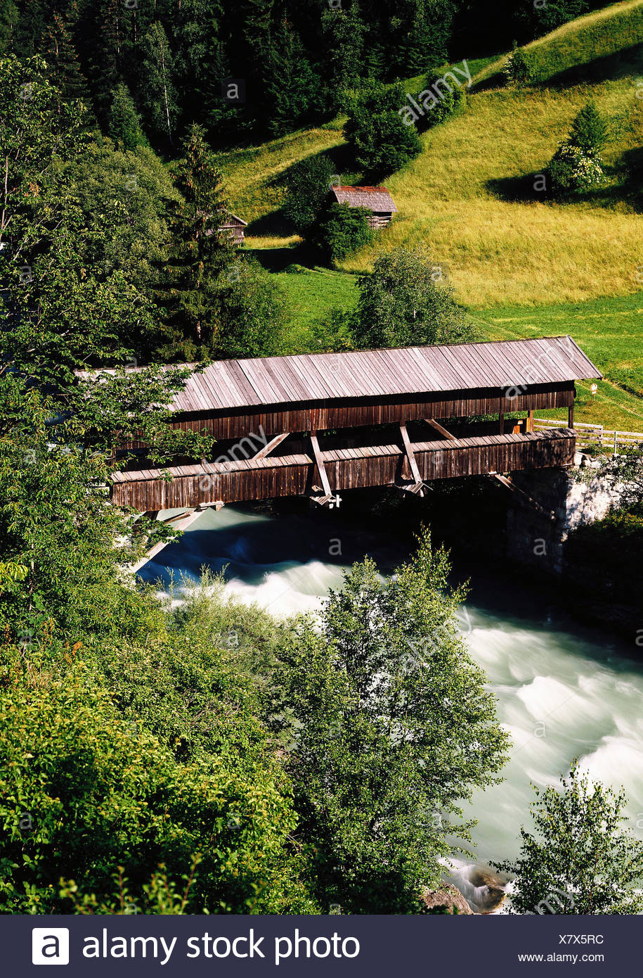 geography / travel Austria, Tyrol, landscapes, Sanna, near Pians, Arlberg, old roofed wooden bridge, Additional-Rights-Clearance-Info-Not-Available - Stock Image