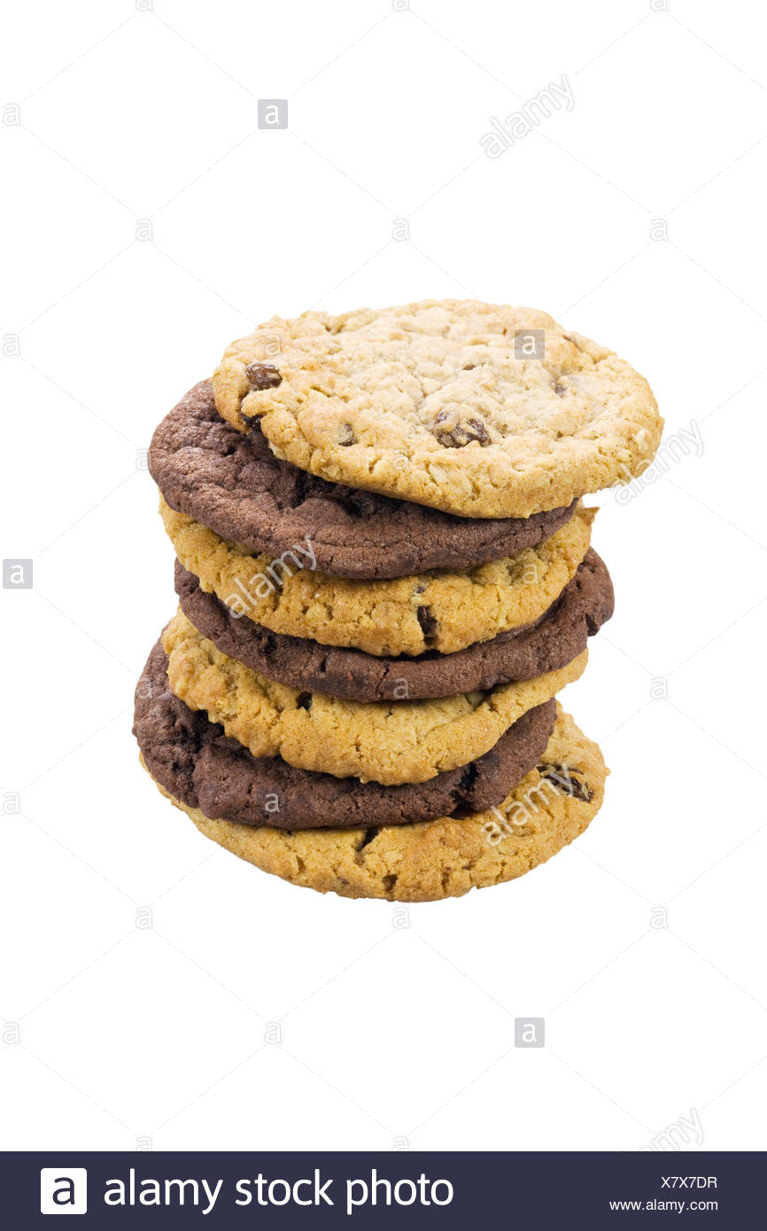 Mixed stack of cookies Stock Photo