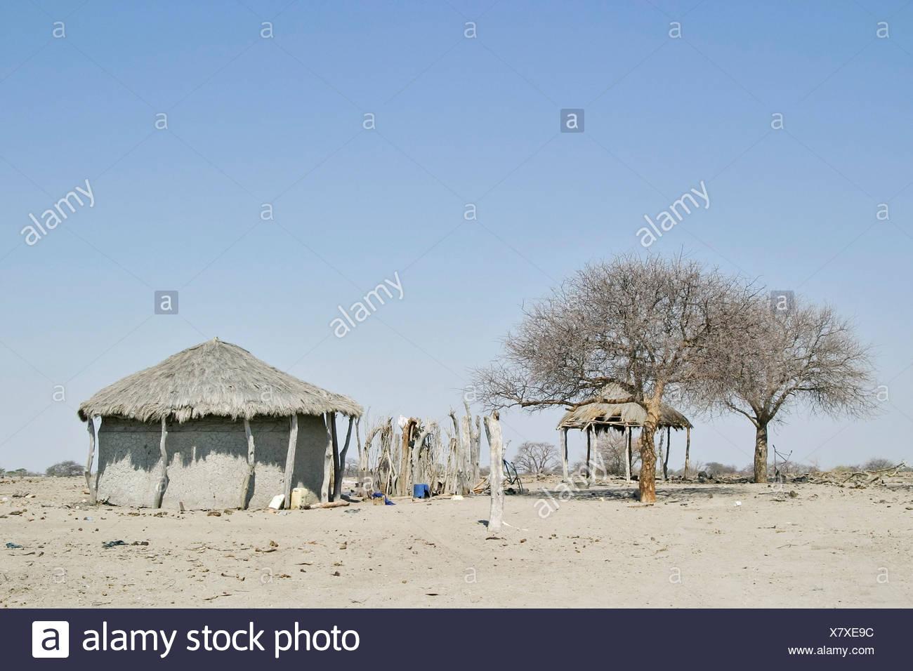 African hut at the Sowa Pan, Makgadikgadi pans, Botswana, Africa Stock Photo