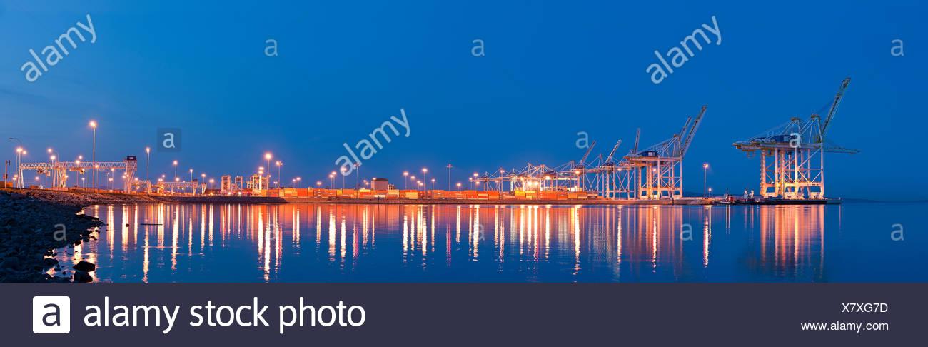 Container cranes at Delta Port Terminals - Stock Image