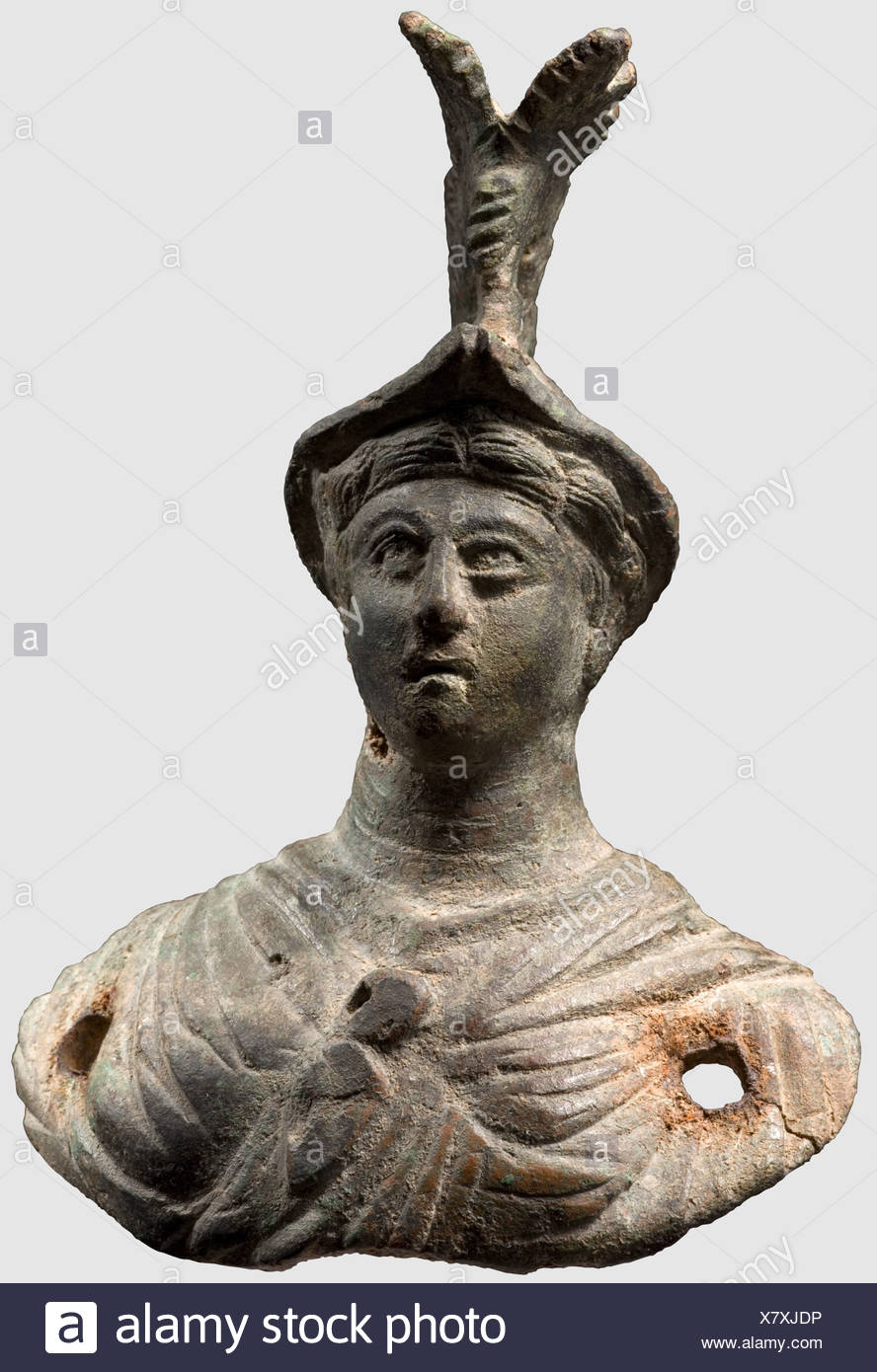 A Roman appliqué in the shape of a bust of Minerva, 2nd/3rd century