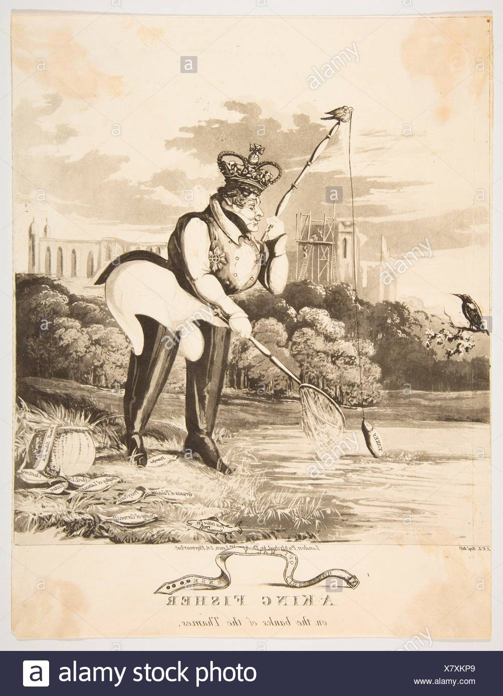 A King Fisher on the Banks of the Thames. Artist: Monogrammist JVS (British, active 1827); Publisher: Thomas McLean (British, active London - Stock Image
