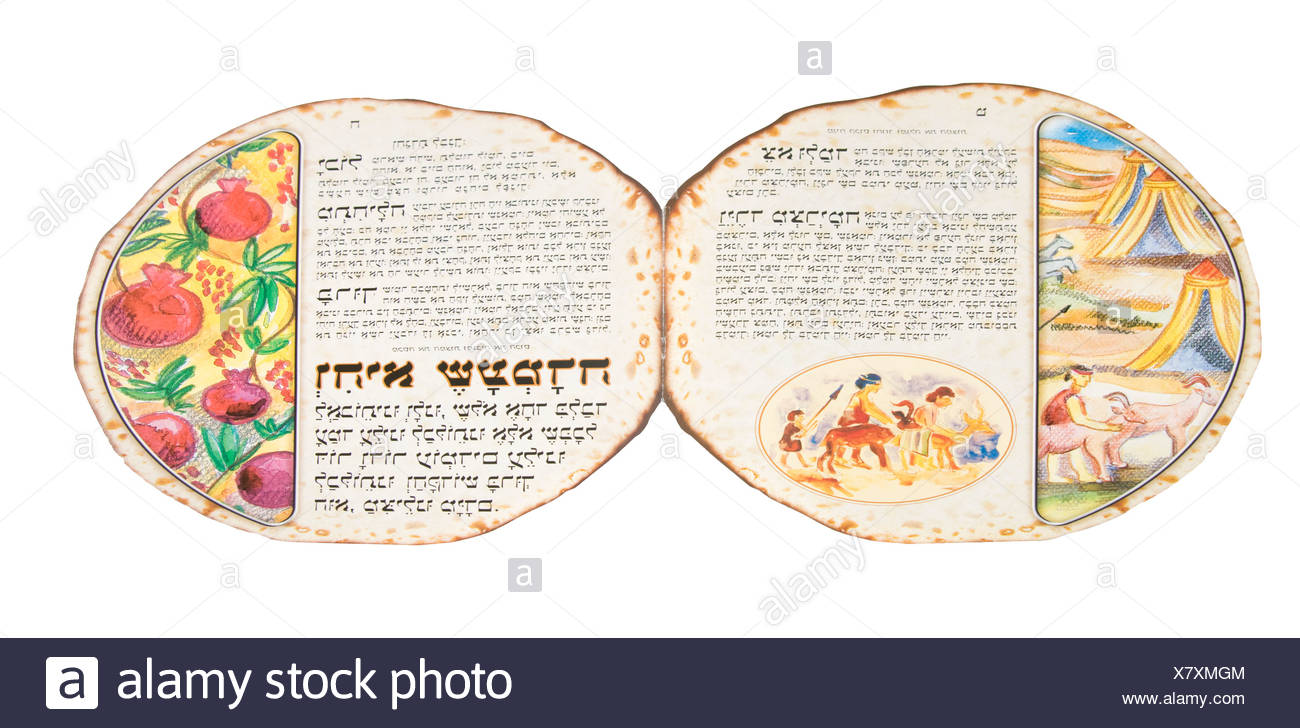 Cutout of a Matzo shaped Hagada on white background Open - Stock Image