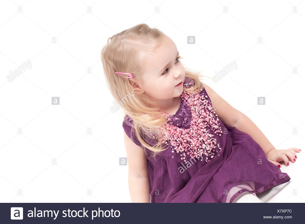 Cute Baby Girl In Violet Stock Photos Cute Baby Girl In Violet