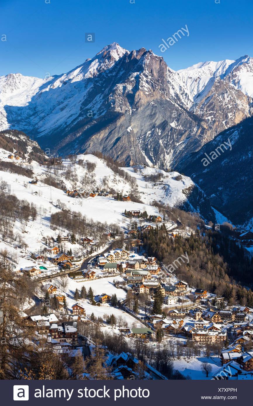 Valloire ski resort, Savoie in the French Alps, Maurienne Valley, Savoie, France - Stock Image