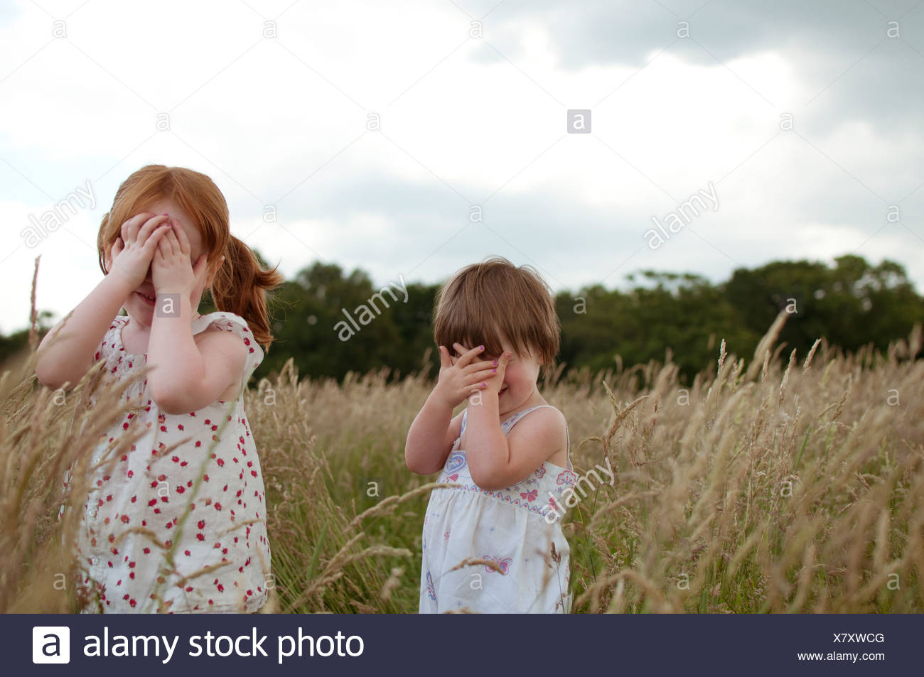 Two little girls playing hide and seek in a field - Stock Image